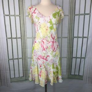 Scarlett Fit Flare Dress V Neck Floral Cape Sleeve